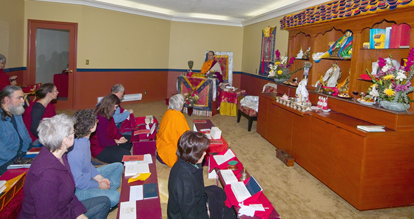 The members of Chagdud Gonpa Amrita practicing in the Shrine Room.
